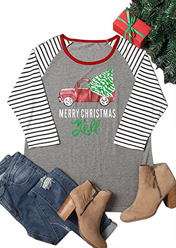 Chulianyouhuo Women Plus Size Merry Christmas Y'all Striped Splicing Baseball T-Shirt (Gray, XXXL) -