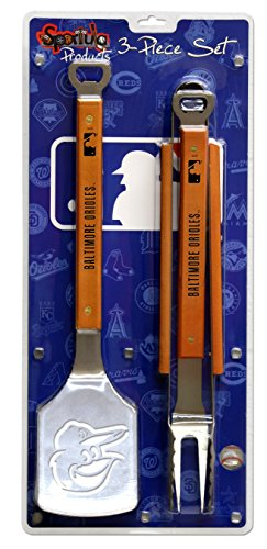 MLB Baltimore Orioles 3PC BBQ Set, Heavy Duty Stainless Steel Grilling Tools