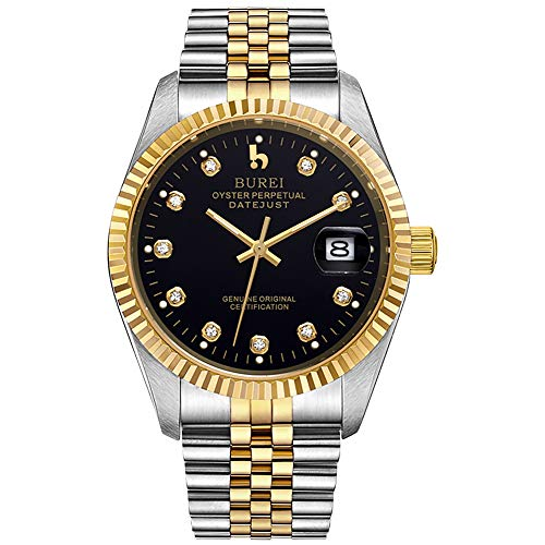 BUREI Mens Wristwatch Luxury Automatic Watch Two Tones Stainless Steel Dress Wrist Watches Self-Winding (Gold & Black)