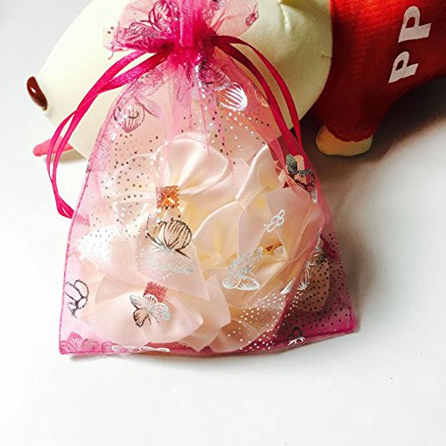 G2PLUS Organza Gift Bags 5'' x 7'', 100 PCS Drawstring Pouches Jewelry Wedding Party Favor Bags (Rose - Silver Butterfly Pattern) 7' Organza Bag