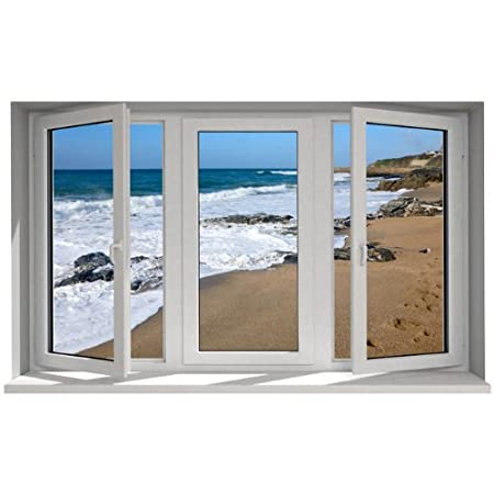Trompe loeil window with sea view wall sticker various sizes available 105cm x