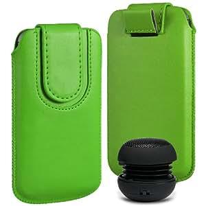 N4U Online Premium PU tirón del cuero del tirón Tab bolsa de la cubierta del caso con el magnética Cierre de correa y mini altavoz portable para Samsung Galaxy Ace 2 I8160 - Verde