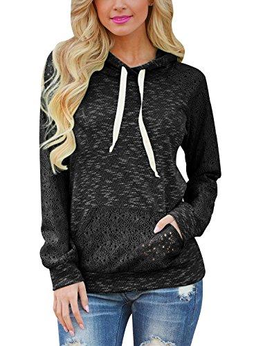 Black S/s Hoodie (HOTAPEI Women's Long Sleeve Shirt Pullover Hoodie Hooded Sweatshirt With Kangaroo Pocket Black X-Large)