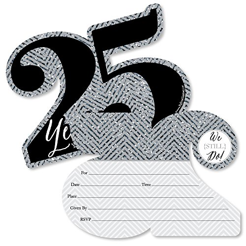 - We Still Do - 25th Wedding Anniversary - Shaped Fill-in Invitations - Anniversary Party Invitation Cards with Envelopes - Set of 12