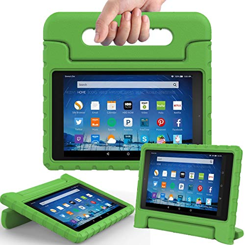 (AVAWO Shock Proof Case for Fire HD 8 2017/2018 Tablet with Alexa - Kids Shockproof Convertible Handle Light Weight Protective Stand Case for Fire HD 8 inch (7th/8th Generation 2017/2018 Release),Green)