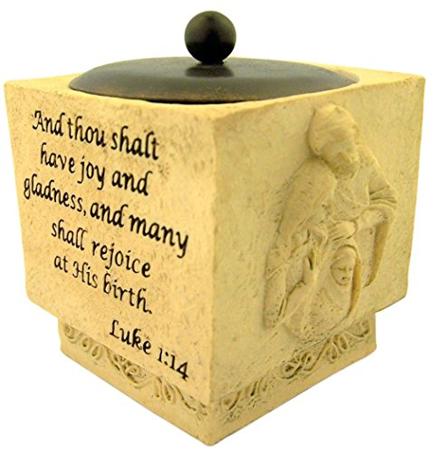 The Holy Family Christmas Nativity Resin Candleholder with Lid, 3 Inch - Nativity Christ Candle