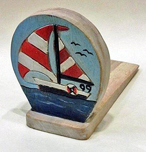 Door Stopper - Wooden Sailboat Door Stop - Sailboat Doorstop - Nautical Decor (Stopper Sailboat Door)