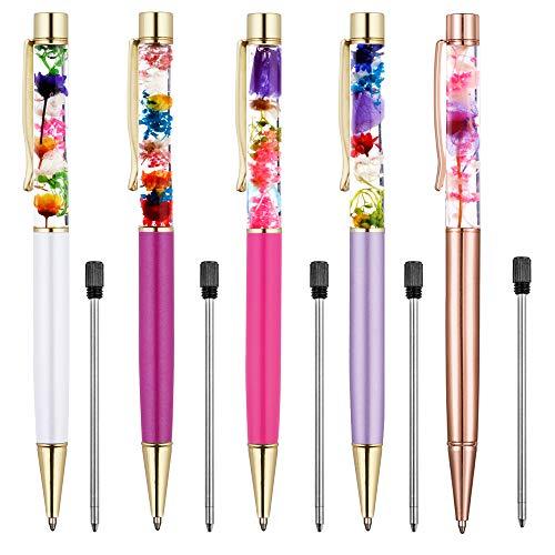 (Ballpoint Pens, 5 Pieces Rose Gold/White/Purple/Rose Red/Dark Purple Metal Ball Pen refillable Refills Black Ink Herbarium Floral Pens for Office)