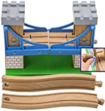 Train Tower Bridge by Tesco. Wood Drawbridge Fits with Brio, Thomas and Other Wooden Sets. Great Kids Christmas or Birthday Gift. Railroad Track Is An Ideal Present for Any 3+ Boy or Girl