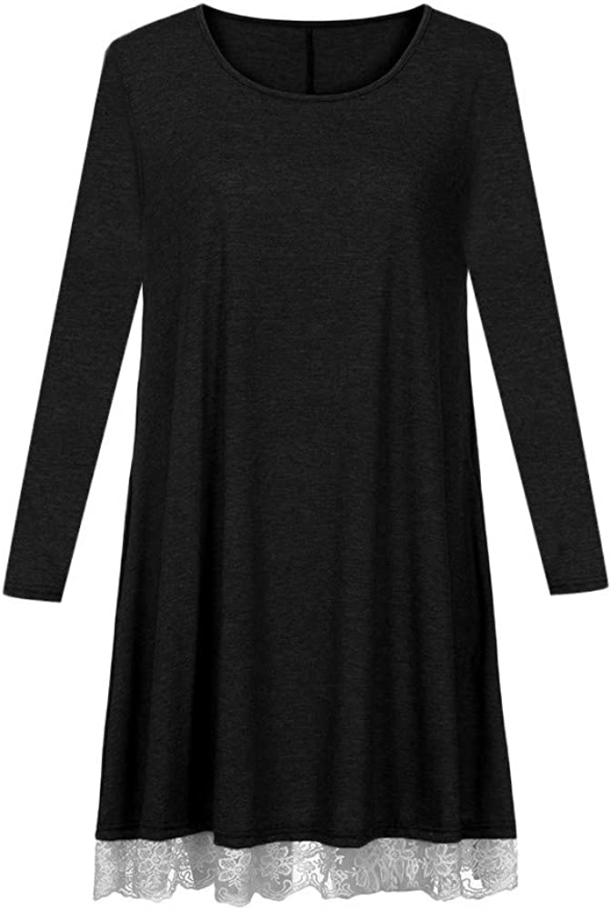 Lace T Shirt Dress for Women Long Sleeve Cotton Lace Hollow Edge with Pockets