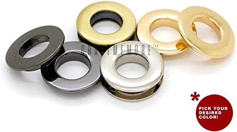 CRAFTMEmore Metal Push Snap Together Grommet Flat Surface Snap Rings Eyelet O-Rings Purse Loop Easy Installation Pack of 4 Complete Rings 11mm 7//16 , Brushed Brass