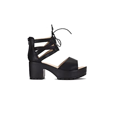 1be3a5027d2 Onlineshoe Women s Lace Up Ankle Strap Cleated Sole Block Heel Sandals -  Black PU