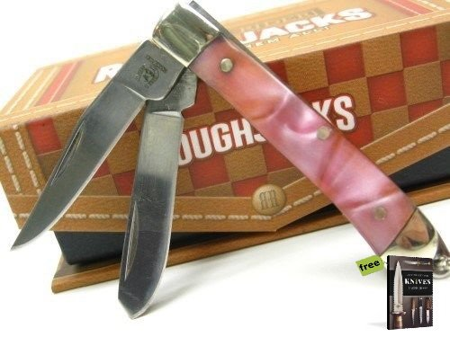 Pearl Mini Trapper (ROUGH RIDER Pink Pearl MINI TRAPPER 2 Carbon Steel Razor Sharp Blade Pocket Folding Knife + Free eBook by SURVIVAL STEEL)