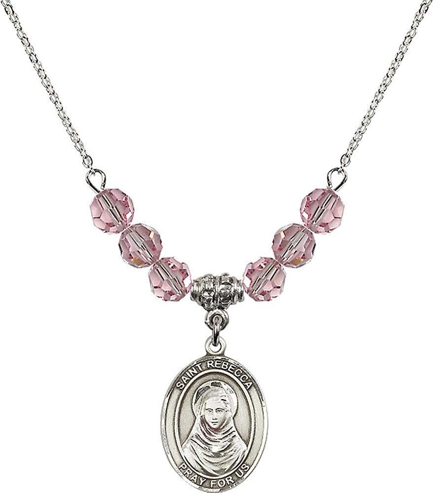 18-Inch Rhodium Plated Necklace with 6mm Rose Birthstone Beads and Sterling Silver Cross Charm.