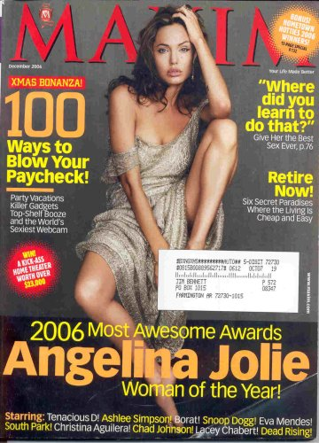 Read Online ANGELINA JOLIE MAXIM MAGAZINE DECEMBER 2006 BORAT CHRISTINA AUILERA! ebook