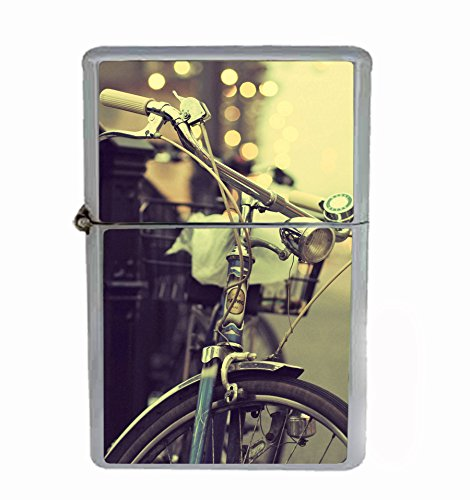 Vintage Bicycle Classic Artsy Flip Top Oil Cigarette Lighter by Customized Collectables