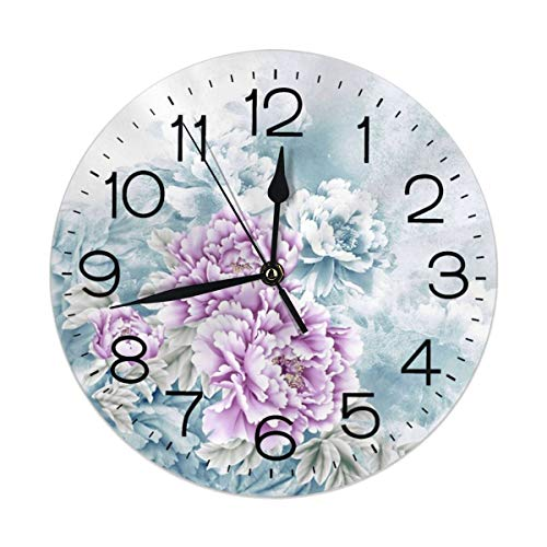 (FEAIYEA Wall Clock Watercolor Peony Decorative Wall Clock Silent Non Ticking - 9.8Inch Round Easy to Read Decorative for Home/Office/School Clock)
