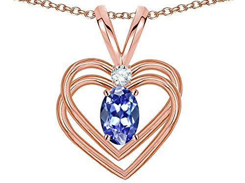 Star K Oval 5x3mm Genuine Tanzanite Knotted Double Heart Pendant Necklace 14 kt Rose Gold