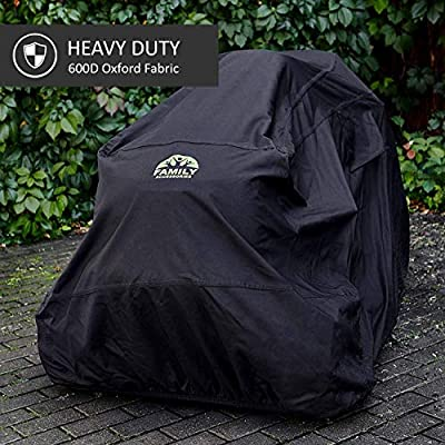 "Family Accessories Waterproof Riding Lawn Mower Cover, Heavy Duty, Durable, UV and Water Resistant Cover for Your Ride-On Garden Tractor - Up to 54"" Decks"