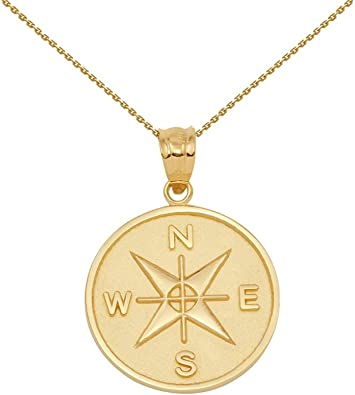 Amazon Com 10k Gold Compass Medallion Charm Pendant Necklace 16 Jewelry