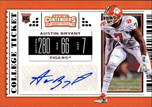 2019 Panini Contenders Draft Tickets College Ticket #196 Austin Bryant RC Rookie AUTO Clemson Tigers NCAA Football Trading Card