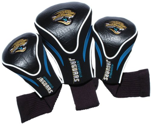 Team Golf NFL Jacksonville Jaguars Contour Golf Club Headcovers (3 Count), Numbered 1, 3, & X, Fits Oversized Drivers, Utility, Rescue & Fairway Clubs, Velour lined for Extra Club Protection