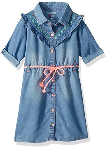 (Limited Too Girls' Big Casual Dress, Tencel Ruffle Yoke Shirt Light Blue Denim, 12)