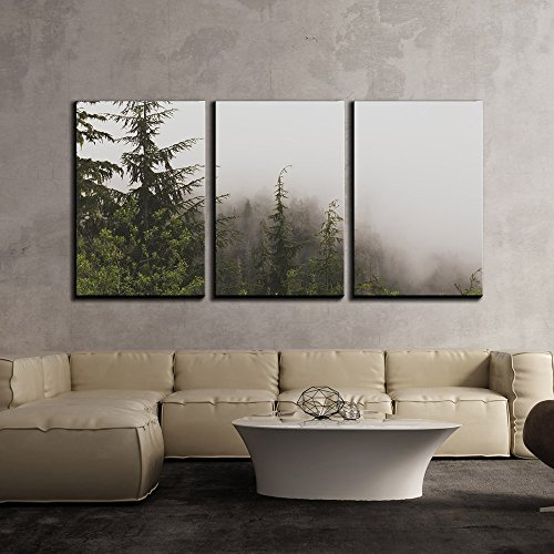 (wall26 - 3 Piece Canvas Wall Art - Pine Tree Forest on a Foggy Day - Modern Home Decor Stretched and Framed Ready to Hang - 16