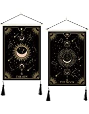 PROCIDA 2 Pack Tarot Tapestry Sun and Moon Mysterious Tarot Cards Star Constellation Black Cotton Linen Wall Hanging for Bedroom Dorm Apartment Room Decor with Seamless Nail(13.8 x 19.7 inches)