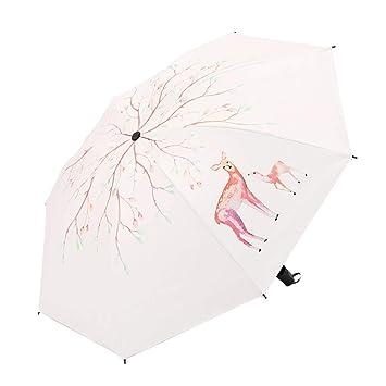 Sabarry Grande Sol Mujer UV Funda Paraguas automático bastón Pantalla niños Blanco Blanco Talla única