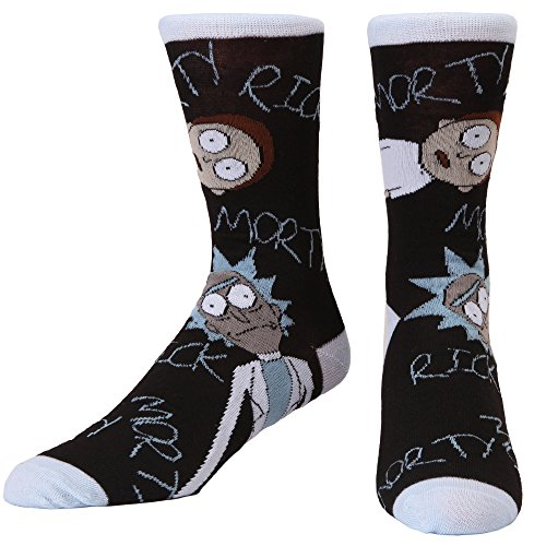 Rick and Morty Staring Adult Crew Socks shoe size 6-12 from Hypnotic Hats