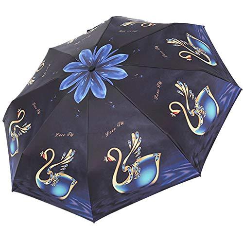 4Truth Sun Umbrella Folding, Women UV Waterproof Umbrellas Protection Digital Printing Ladies Creative Triple 190T Parasols 8 Bones Parasol (Black)