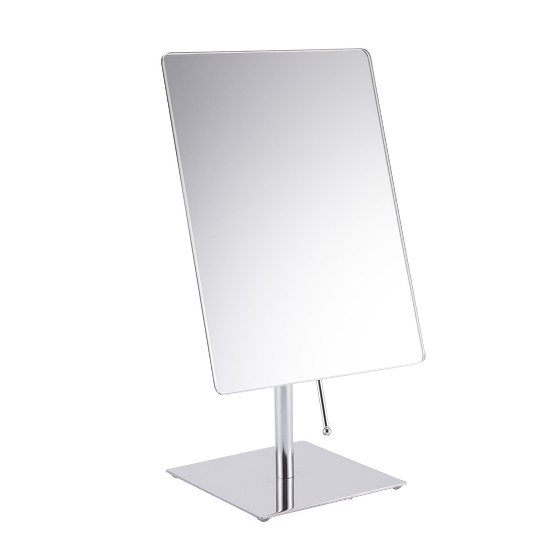 FIRMLOC Non-magnifying Vanity Mirror, Makeup Mirror Adjustable Rectangular Tabletop Mirror, Rectangular Glass Surface 9 inch x 6.5 inch, Portable Polished Chrome Contemporary Finished