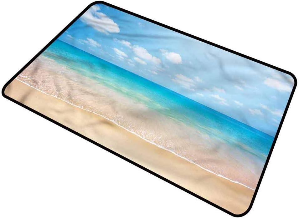 "shirlyhome Door Mat Ocean Home Plate Doormat Tropical Sea Coast Sky Rectangle 31""x47"""