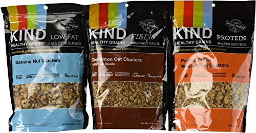 Clusters- Super Variety Packs 11 Oz (Pack of 3)---- Banana Nut + Cinnamon Oats W/flax + Peanut Butter Whole Grains ()