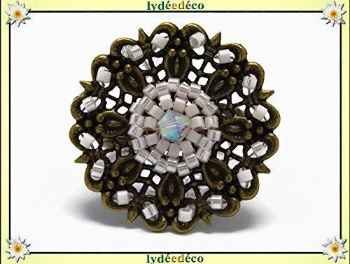 Anillo que teje perlas vidrio japoneses blanco bronce ajustable ...