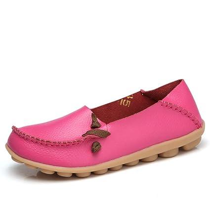 Mujer Zapatos Planos Cuero Soft Único Ligero Deslizamiento En Con Puntilla Mocasines Bajo El Talón Puntera