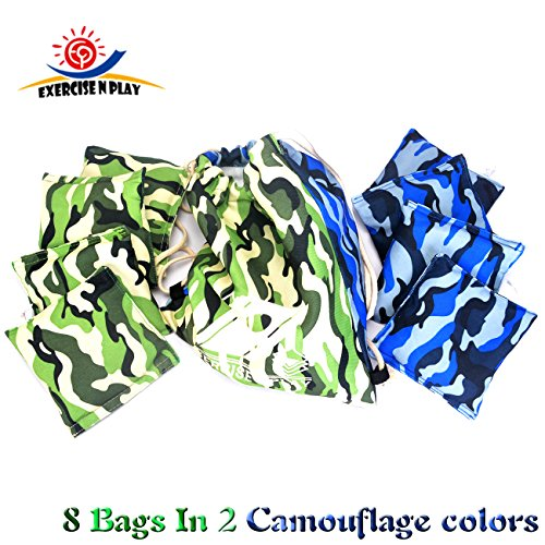 [Premium Weather Resistant Official Size ACA Regulation Duck Cloth Cornhole Bags(set of 8) for Cornhole Bean Bags Toss Game,Camo,Includes Shoulder] (Halloween Bean Bag Toss)