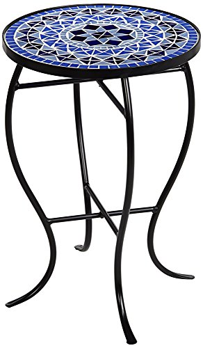 Cobalt Mosaic Black Iron Outdoor Accent Table (Blue Mosaic Cobalt)