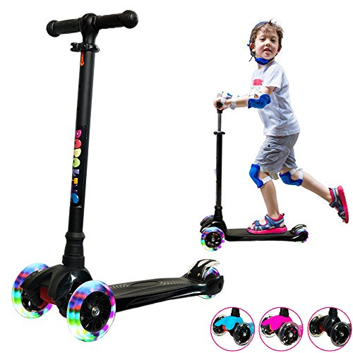 Scooters for Kids, Wide Deck 3 Wheels with LED Scooter 2 Years and Up with T-Bar Handle 130pounds Weight Limit BOBOKING Kick Scooter