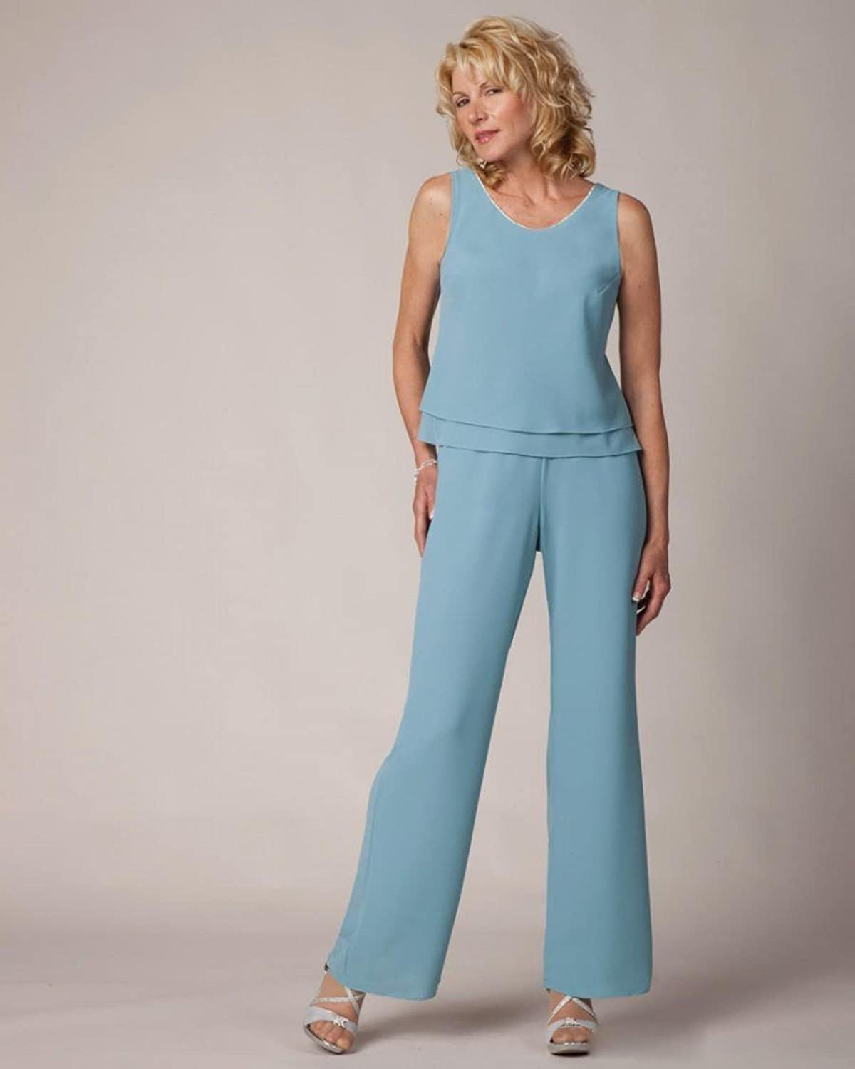 Kelaixiang Blue Chiffon Custom Made Mother of The Bride Pant Suits 3 ...