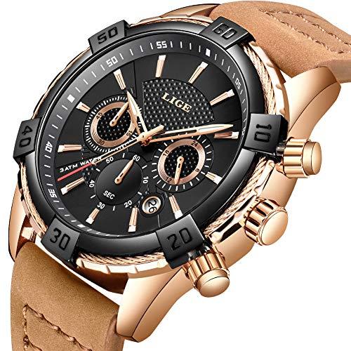 - LIGE Men Watches Military Waterproof Sport Analog Quartz Watch Chronograph Calendar Big Dial Brown Leather Wristwatch