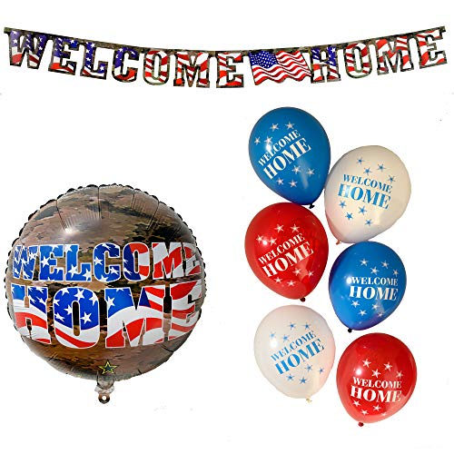 (Havercamp Welcome Home American Heroes Bundle | Banner, Balloons | Great for Welcoming Parties, Homecoming Events, Military Retirement, Troop)