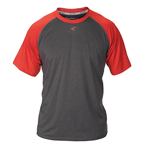 Red Stitch Logo Shirt (Easton Boys Short Sleeve Raglan Performance Shirt, Charcoal/Red, Large)