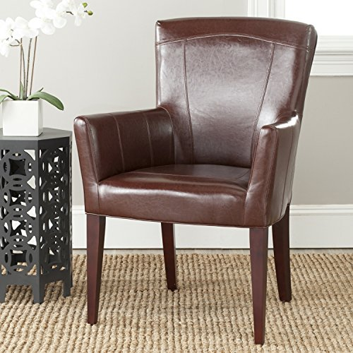 Bicast Leather Arm Dining Chairs - Safavieh  MCR4710A Dale Arm Chair Accent Chairs (Brown)