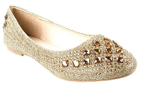 Forever Link Women's Sparkle Bead Crystal Embellished Metallic Dress Ballet Flat (10 B(M) US, Champagne 25)
