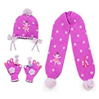 Kidorable Big Girls Pink Ballerina Hat Scarf Gloves Handmade Winter Set 9&up