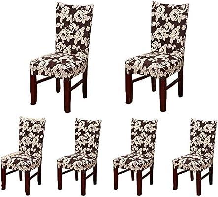 6 x silla de comedor de soulfeel suave ajuste elástico Cubre con ...