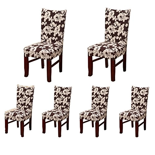 SoulFeel 6 x Stretchable Dining Chair Covers with Printed Floral Patterns, Spandex Chair Seat Protector Slipcovers for Holiday Home Party, Hotel, Wedding Ceremony (Floral, ()