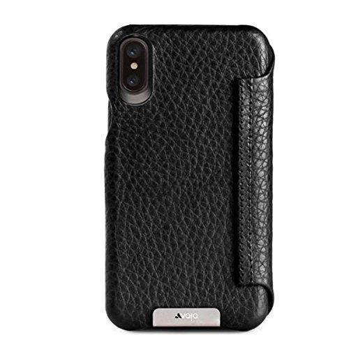 Vaja Wallet Agenda Leather Case for iPhone X - Hard Polycarbonate Frame, 4 Credit Card Slots - Floater Black